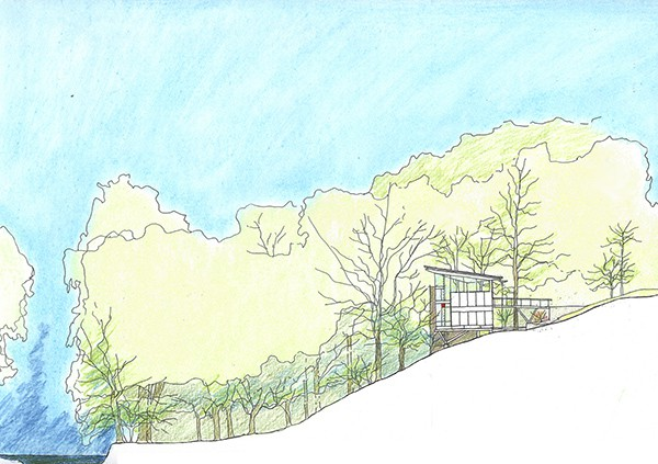 Strickland-Ferris Residence - Frank Harmon Architect-Site Section