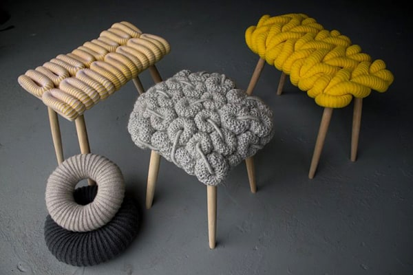 featured posts image for Unique knitted stools collection