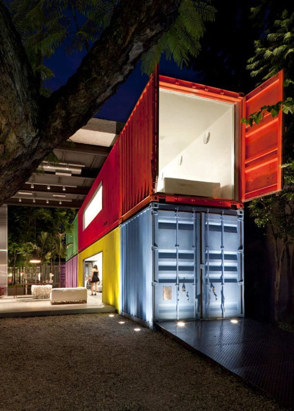 bold and colorful design with shipping containers