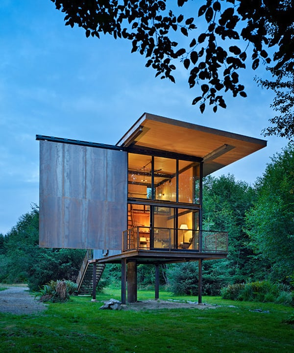 featured posts image for Steel-clad cabin on stilts in the rugged wilderness