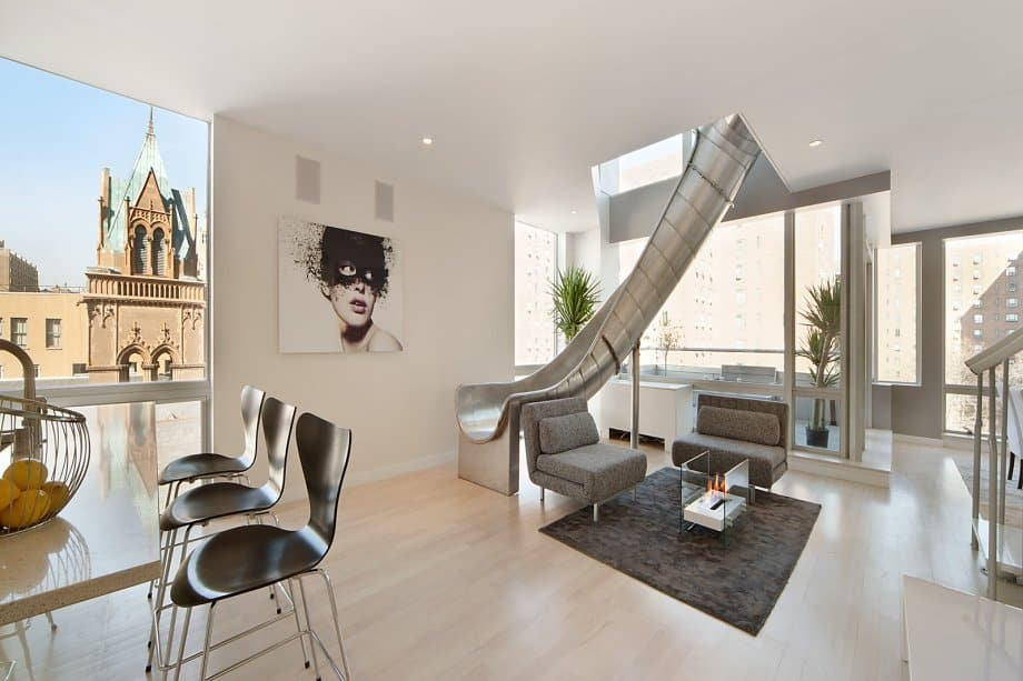 featured posts image for East Village penthouse featuring a helical slide