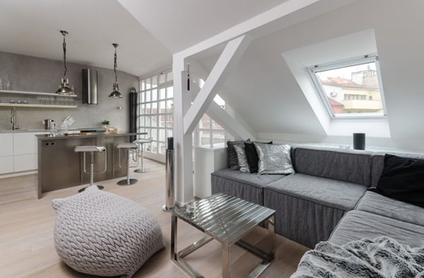 featured posts image for Grey Loft attic reconstruction in Prague by OOOOX