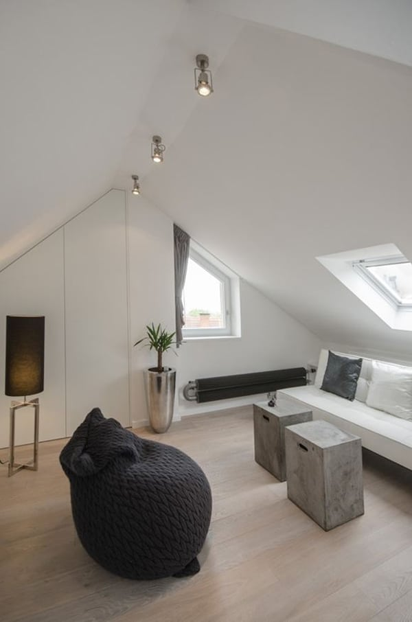 Grey Loft Attic Reconstruction In Prague By Oooox