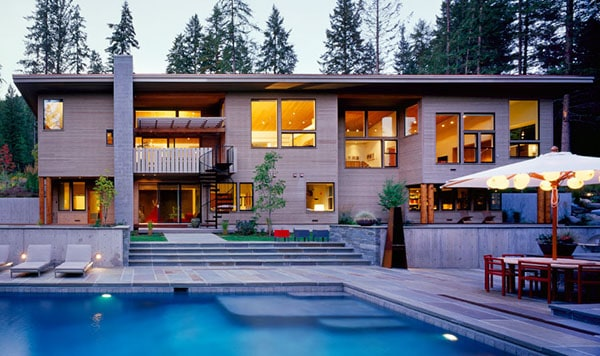 featured posts image for Grant Creek Residence nestled into a wooded hillside