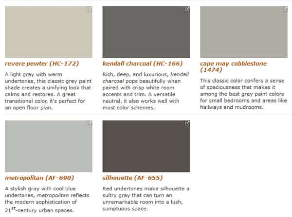 Benjamin Moore Five Favorite Grays