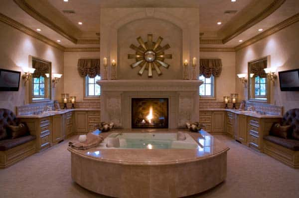 51 mesmerizing master bathrooms with fireplaces - Cool contemporary fireplace design ideas adding warmth in style ...