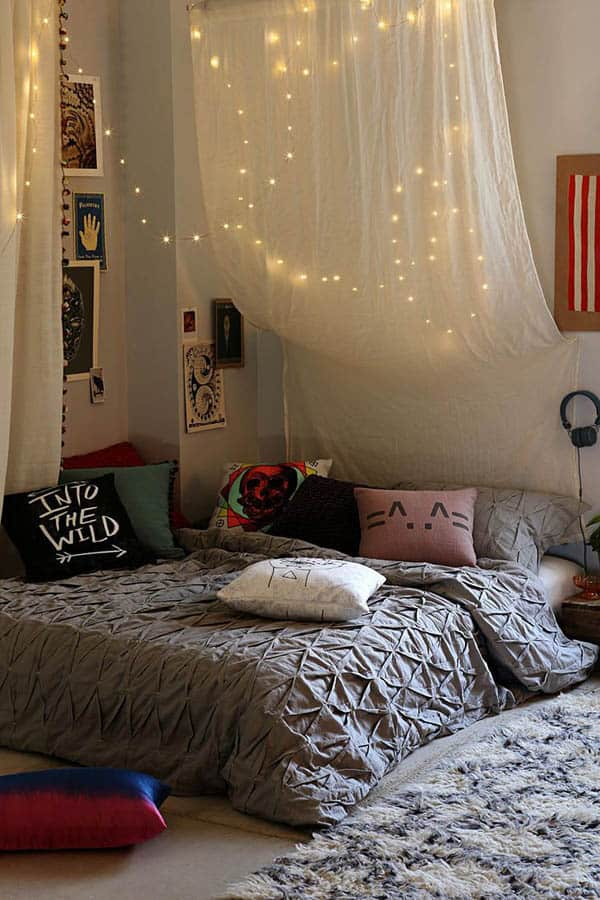Christmas Lights In A Bedroom