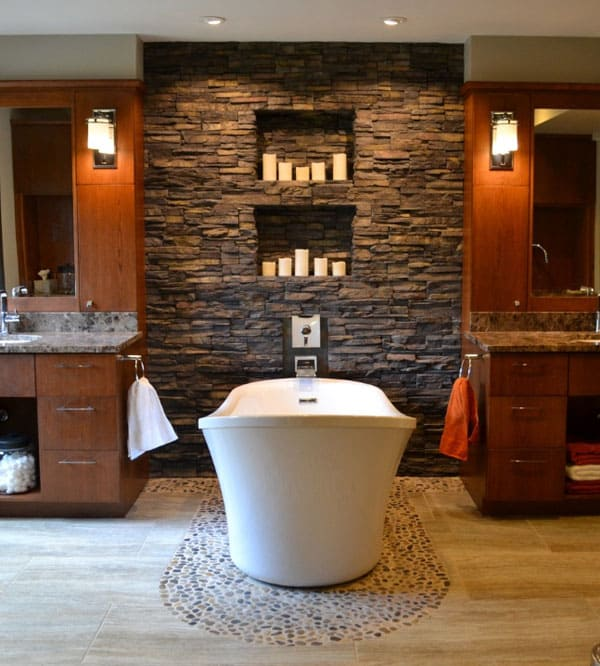 featured posts image for 63 Sensational bathrooms with natural stone walls