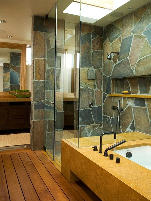 Stone Wall Bathroom-28-1 Kindesign