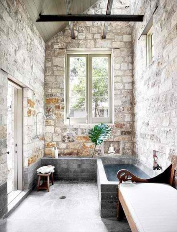 Stone Wall Bathroom-52-1 Kindesign
