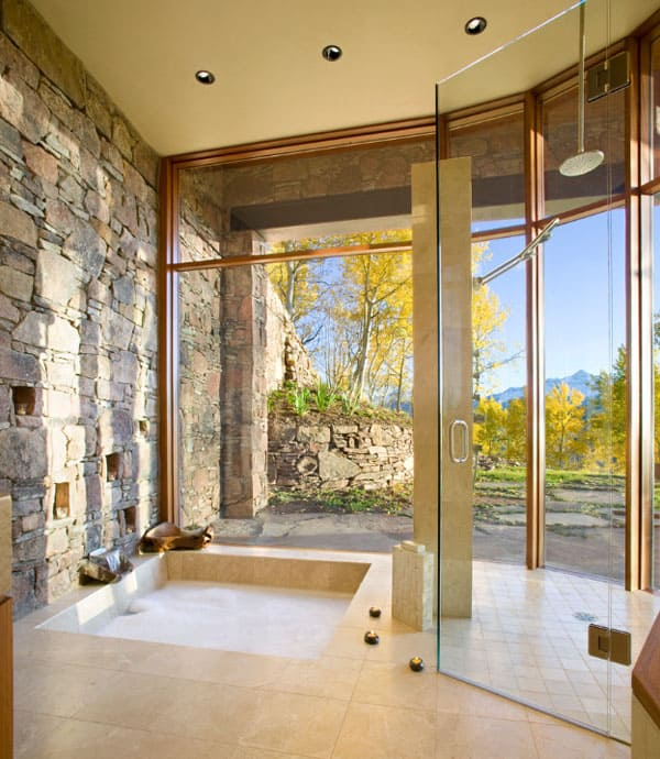 Stone Wall Bathroom-60-1 Kindesign