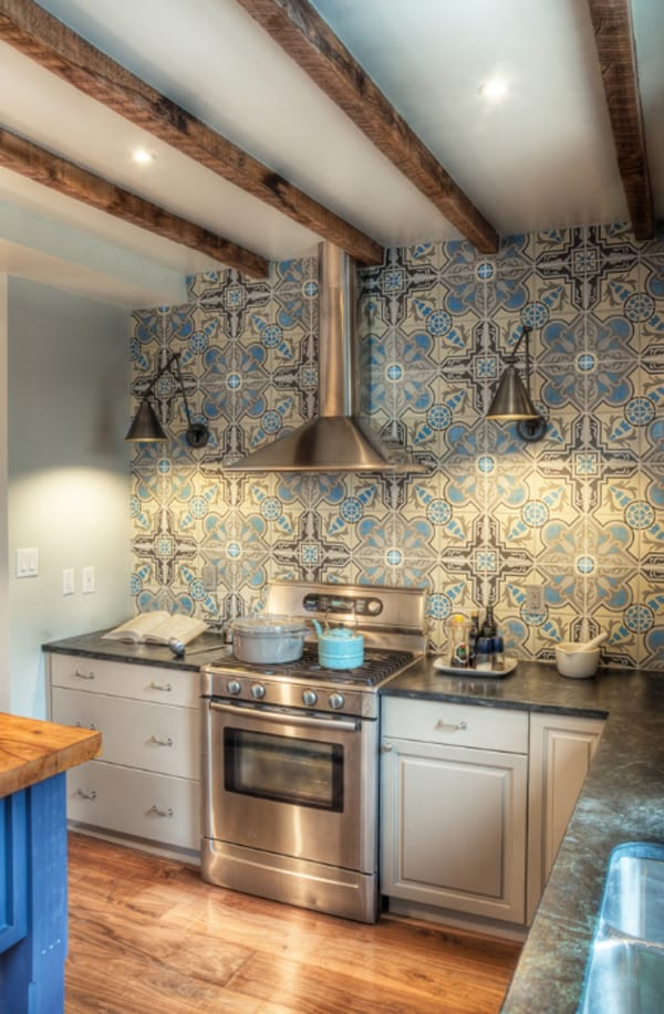 Kitchen Backsplash With Cement Tiles