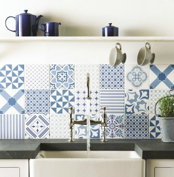 Create a decorative kitchen backsplash with cement tiles