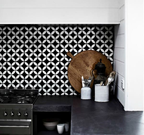 Create a decorative kitchen backsplash with cement tiles for 13x13 white ceramic floor tile