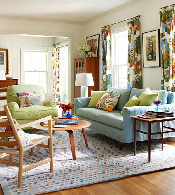 Family In Living Room: 50 Energetic And Colorful Living Room Design Ideas