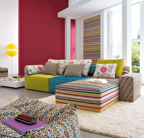 50 Energetic and colorful living room design ideas