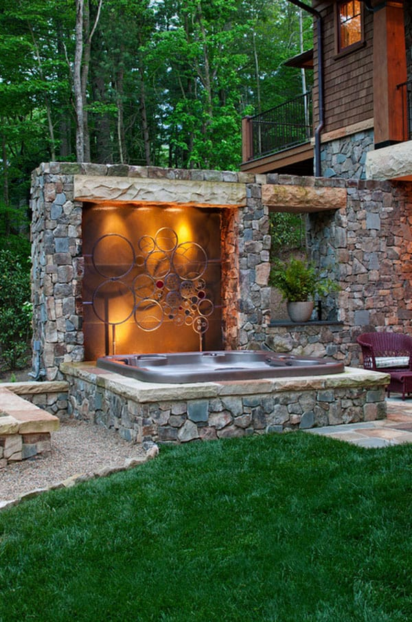 47 irresistible hot tub spa designs for your backyard. Black Bedroom Furniture Sets. Home Design Ideas