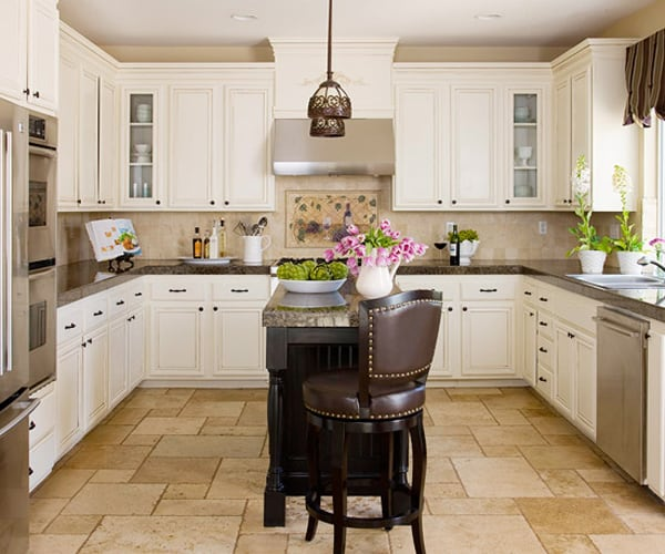 Off White L Shaped Kitchen Design With Island: 48 Amazing Space-saving Small Kitchen Island Designs