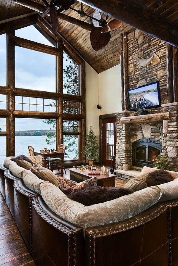 Cabin Style Living Rooms-01-1 Kindesign