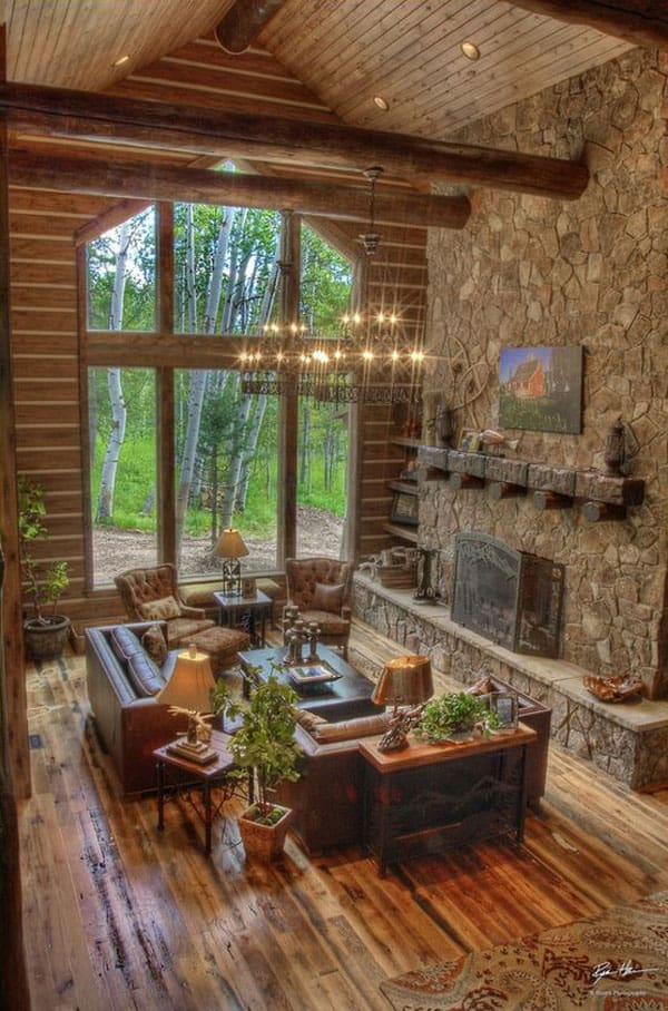 Cabin Style Living Rooms-04-1 Kindesign