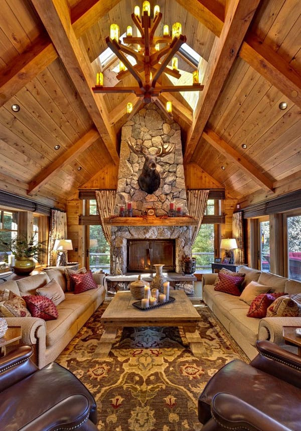Cabin Style Living Rooms 044 1 Kindesign
