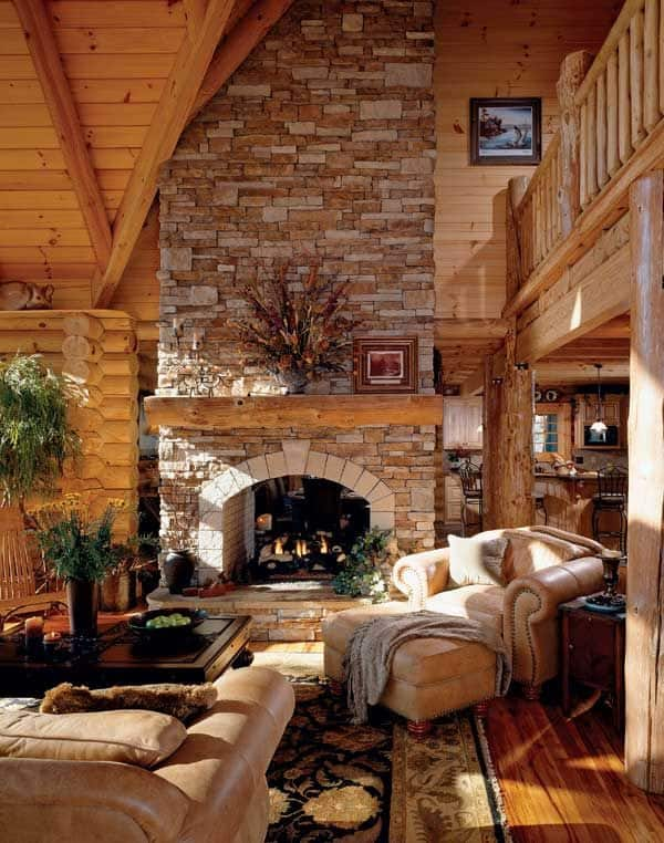 Cabin Style Living Rooms-05-1 Kindesign