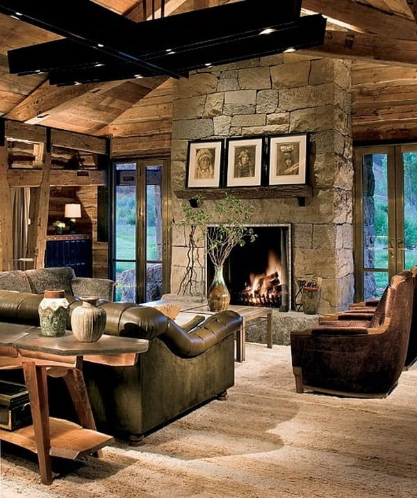 Cabin Style Living Rooms-08-1 Kindesign