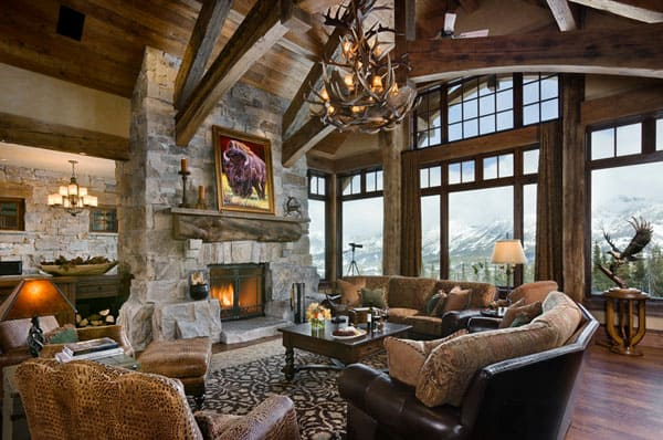 Cabin Style Living Rooms-12-1 Kindesign