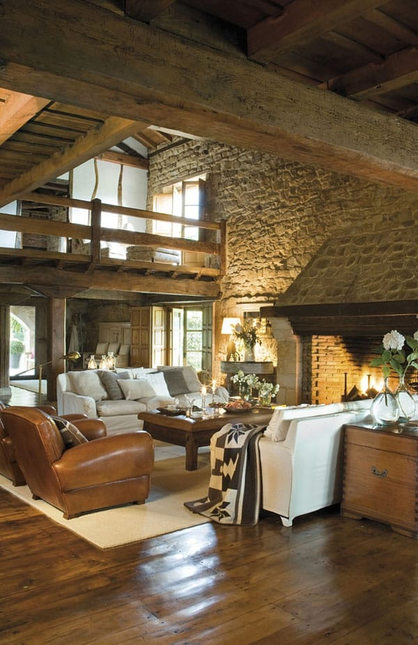 Cabin Style Living Rooms-20-1 Kindesign