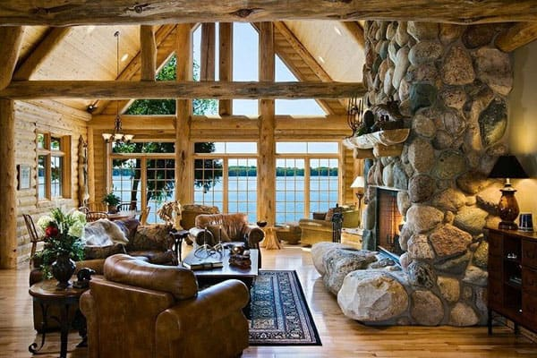 Cabin Style Living Rooms-21-1 Kindesign