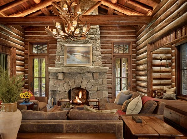 Cabin Style Living Rooms-22-1 Kindesign