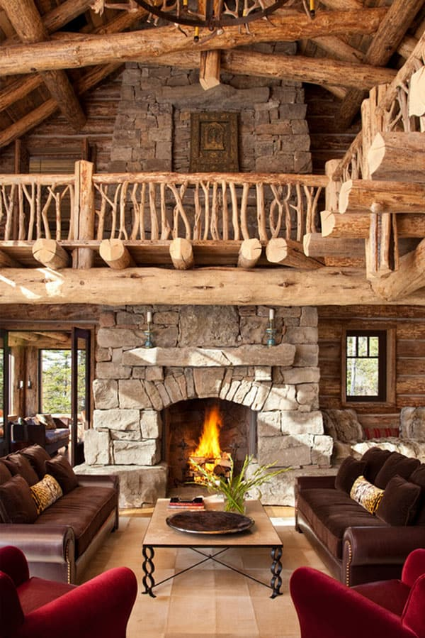 Cabin Style Living Rooms-25-1 Kindesign