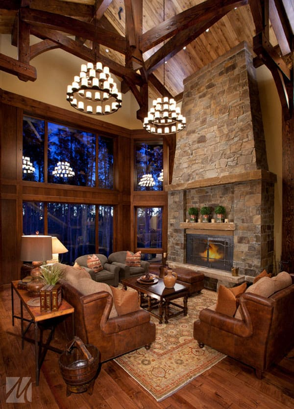 Cabin Style Living Rooms-28-1 Kindesign