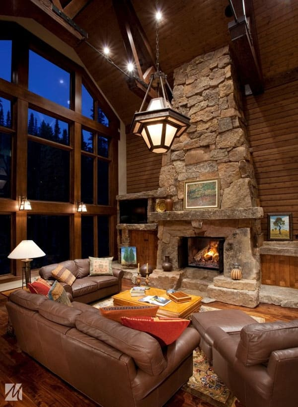 Cabin Style Living Rooms-34-1 Kindesign