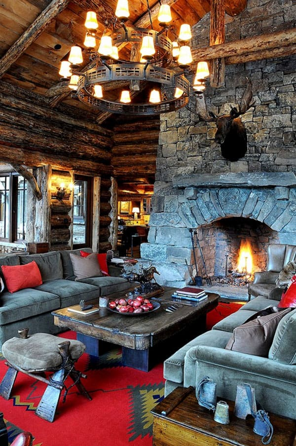 47 Extremely cozy and rustic cabin style living rooms