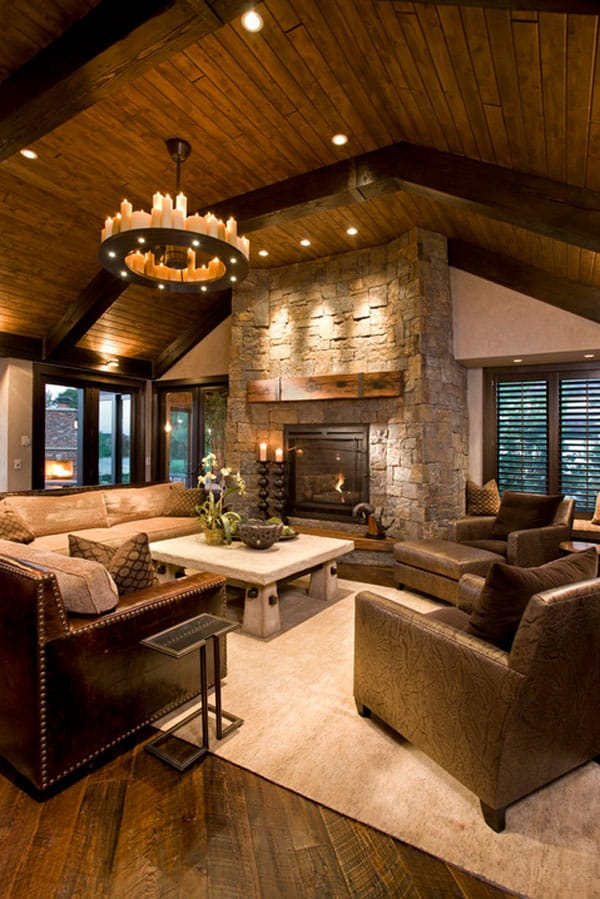 Cabin Style Living Rooms-39-1 Kindesign