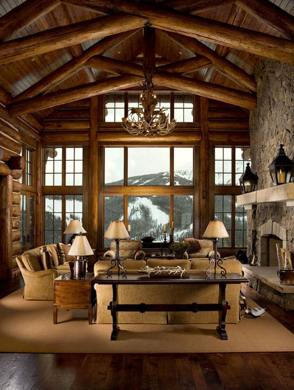 Cabin Style Living Rooms-40-1 Kindesign