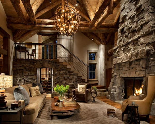 Cabin Style Living Rooms-43-1 Kindesign