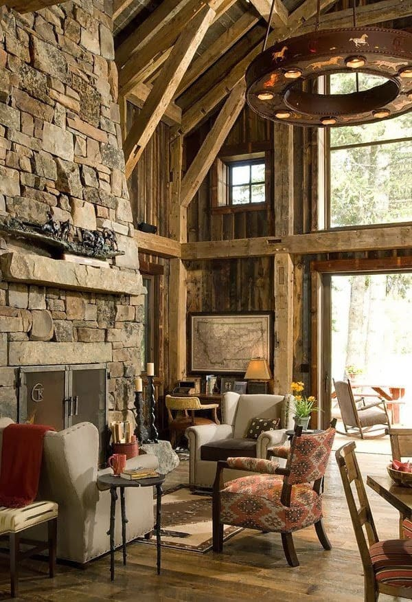 Cabin Style Living Rooms-46-1 Kindesign