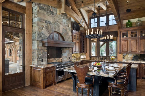 Rustic Kitchens in Mountain Homes-11-1 Kindesign