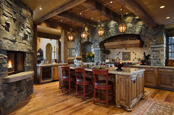 Rustic Kitchens in Mountain Homes-20-1 Kindesign
