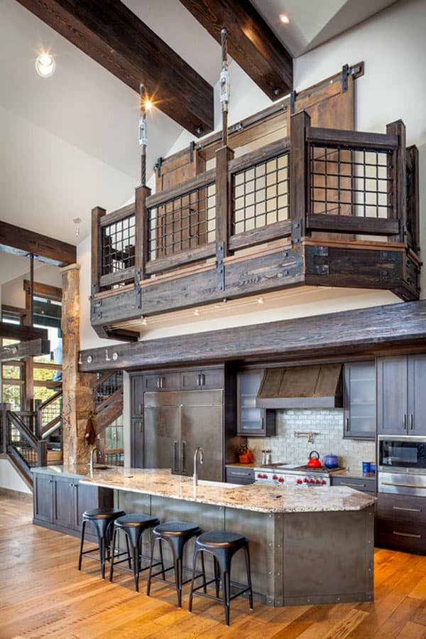 Rustic Kitchens in Mountain Homes-28-1 Kindesign
