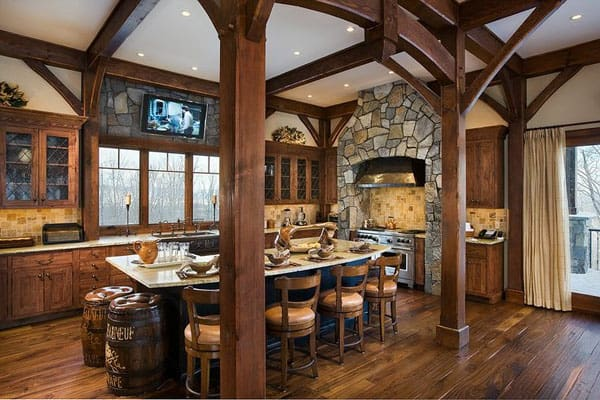 Rustic Kitchens in Mountain Homes-42-1 Kindesign