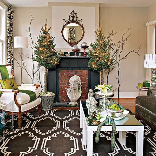 Modern Christmas Decorated Living Rooms-13-1 Kindesign