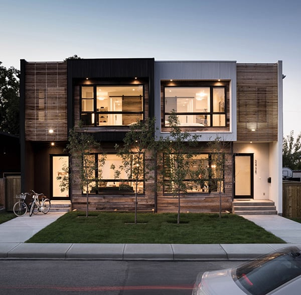 featured posts image for Modern urban infill in Calgary showcasing reclaimed materials