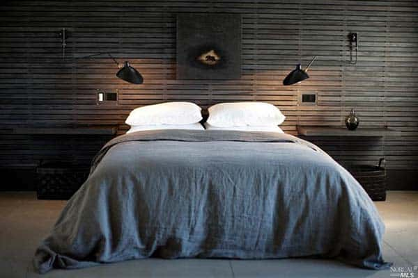 Wood Clad Bedroom Walls-03-1 Kindesign