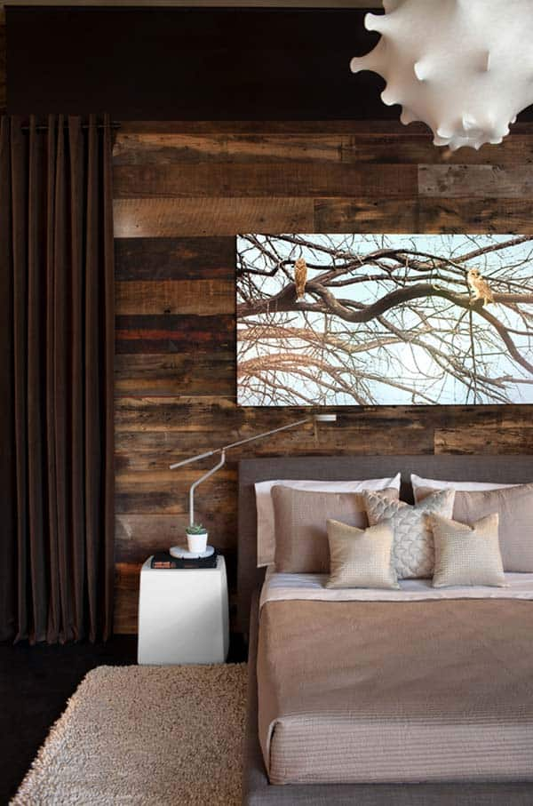 Wood Clad Bedroom Walls-06-1 Kindesign