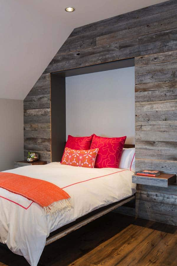 Wood Clad Bedroom Walls-12-1 Kindesign
