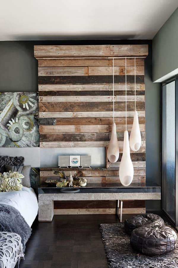 Wood Clad Bedroom Walls-34-1 Kindesign