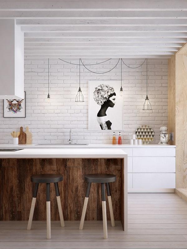 White Brick Wall and Kitchen